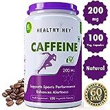 HealthyHey Nutrition Caffeine Veg Capsules, 200mg - Pack of 100