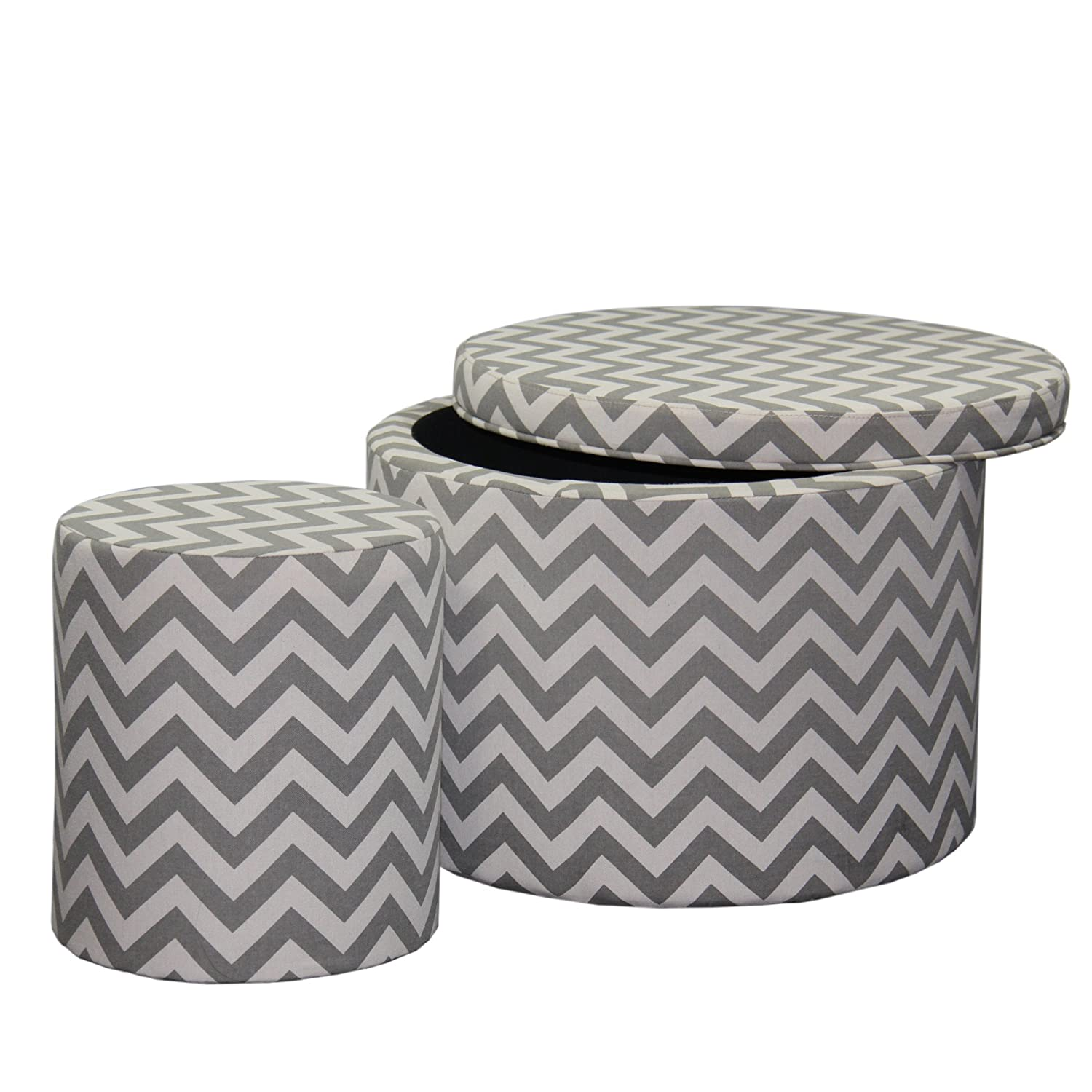 Magnificent Ore International Hb4593 Chevron Storage Ottoman With One Extra Seating 17 35 Gray Caraccident5 Cool Chair Designs And Ideas Caraccident5Info
