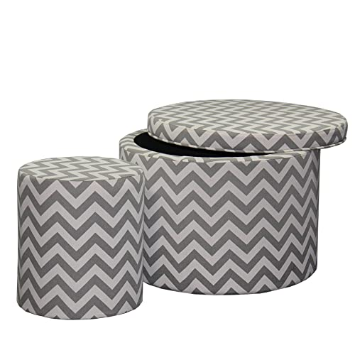 Ore International Chevron Storage Ottoman with One Extra Seating, 17.35 , Gray