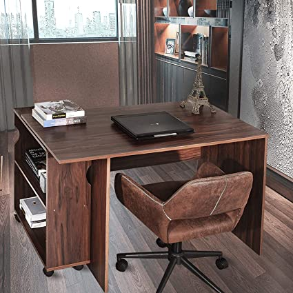 Aingoo Large Writing Computer Desk Essential Study Table With Mobile Bookshelf Wooden Partical Board 47 X