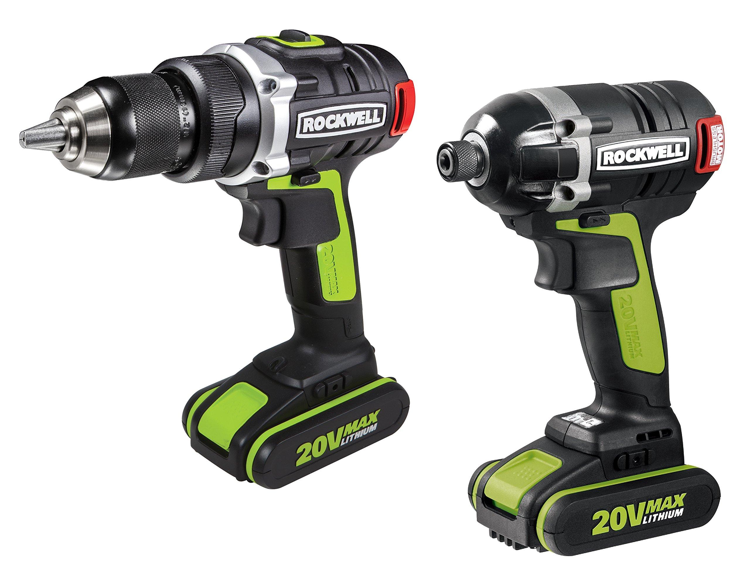 Rockwell RK1807K2 20V Brushless Drill/Impact Driver Combo Kit, 2-Piece