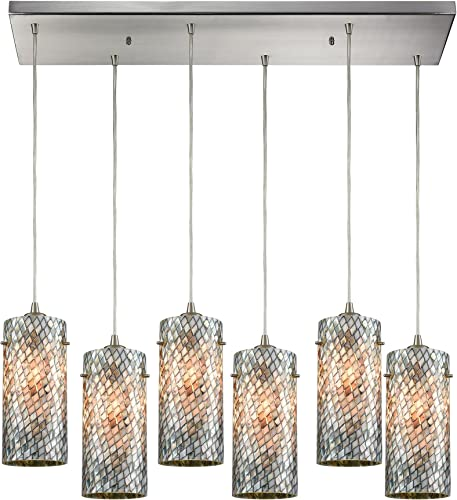 Elk Lighting 10447 6RC Pendant Light, Satin Nickel
