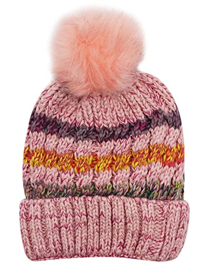 39baa3eb1b8c1 US Women Winter Warm Knit Beanie Hat Fleece Lined Striped Ski Cap With