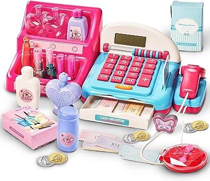HERSITY Caja Registradora Juguetes Supermercado Infantil con Escáner Sonidos y Luces Juego de Princesas Kit Maquillaje Juguetes Regalos para Niño Niña 3 4 5 6 Años: Amazon.es: Juguetes y juegos