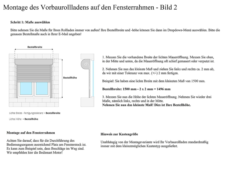 eckiger Rollladenkasten PVC-Kunststoff-Profil 37 mm jarolift Basic Vorbaurollladen Rolladen auf Ma/ß Motor B x H 1401-1600 mm x 801-1000 mm