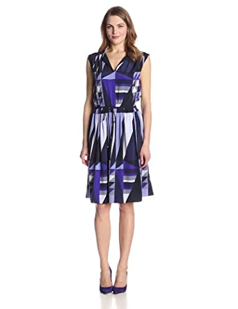 Adrianna Papell Women's Easy Dress with Neck and Drawstring Waist, Purple Multi, Medium