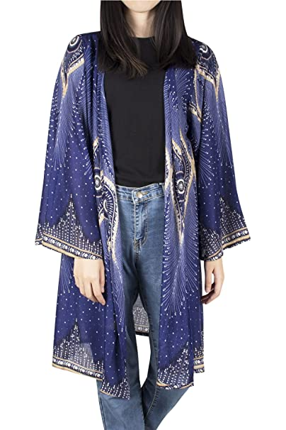 Lofbaz para Mujer Kimono de (Impreso) Blusas con Estampado de rayón: Amazon.es: Ropa y accesorios