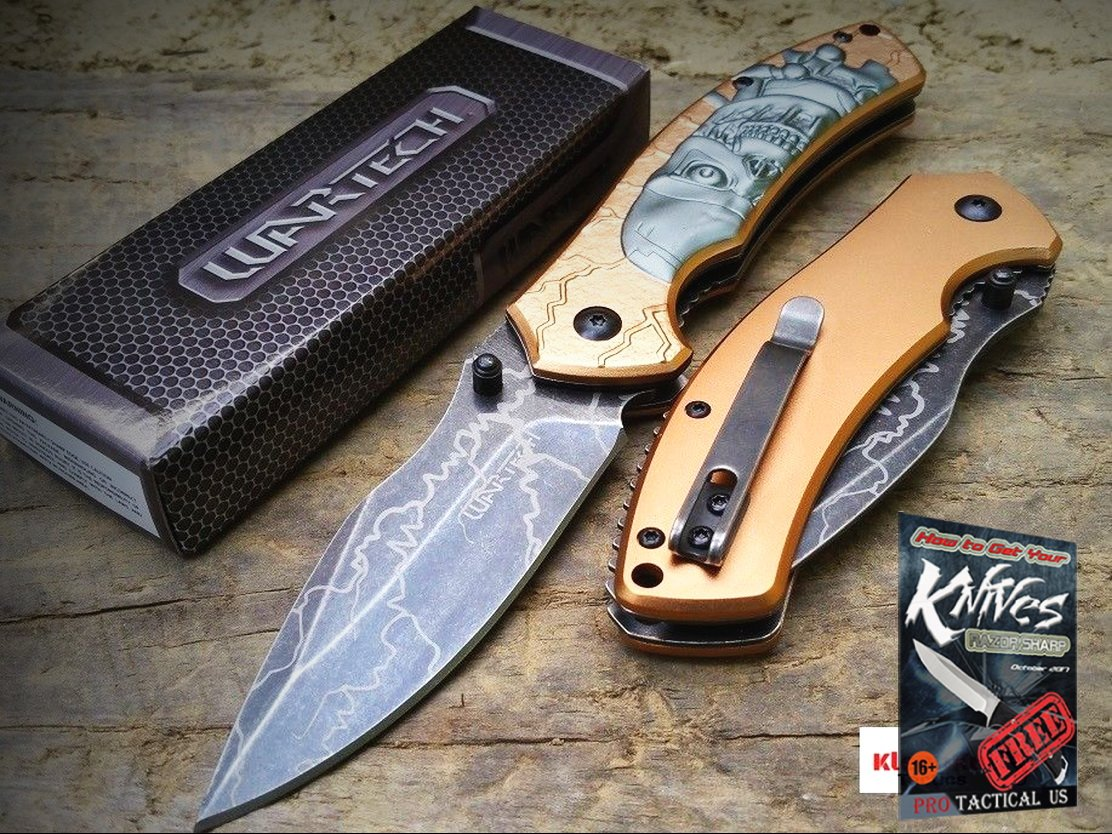 NEW Wartech 8.25'' Bronze Terminator Robot Tactical Spring Assisted Pocket Knife + free eBook by ProTactical'US by new