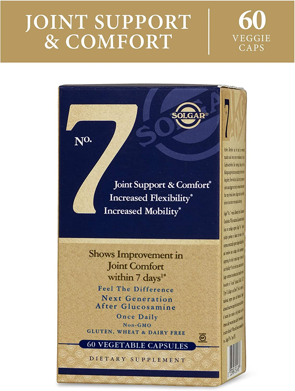 Solgar No. 7 - Joint Support and Comfort - 60 Vegetarian Capsules - Increased Mobility & Flexibility - Gluten-Free, Dairy-Free, Non-GMO - 60 Servings