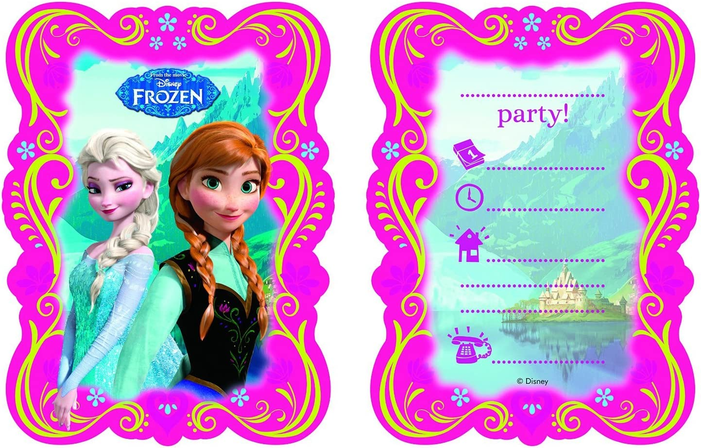 CARTE INVITATION ANNIVERSAIRE DISNEY REINE DES NEIGES FROZEN lot de 4,8 12 ou 16