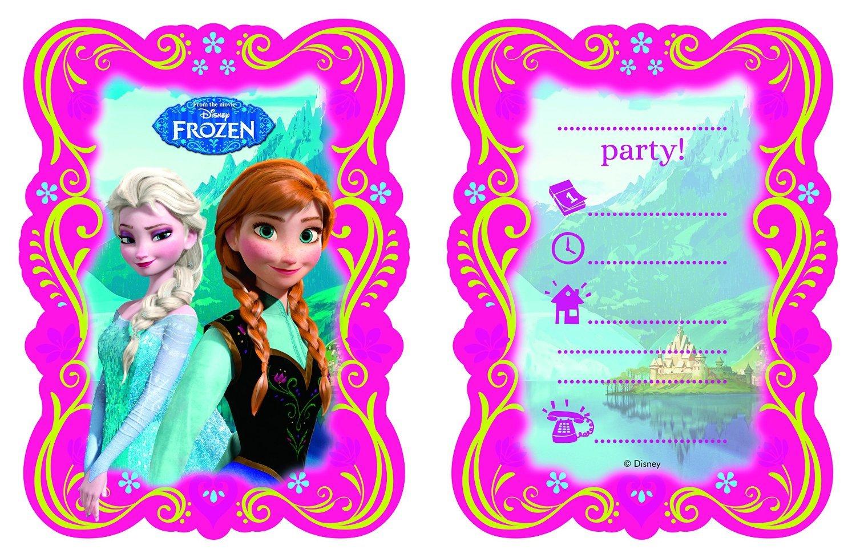 12 Teiliges Einladungskarten Set * FROZEN   DIE EISKÖNIGIN * Für Disney  Kindergeburtstag // 6 Einladungskarten Plus 6 Umschläge // Kinder  Geburtstag Party ...