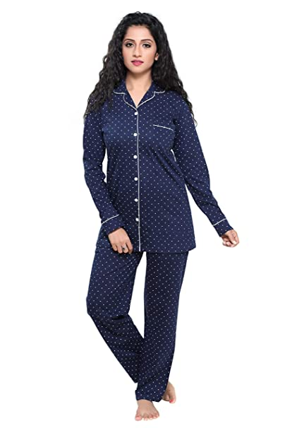 57fd50c8ba Boring Dress Hosiery Women s Cotton Knitted Shirt and Pajama Set (Navy
