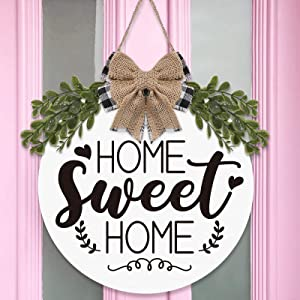 Home Sweet Home Wooden Circle Door Hanger Greenery Buffalo Plaid Burlap Bow Front Wall Porch Sign Rustic Farmhouse Housewarming Decoration Ideas Supplies 12 Inches-White
