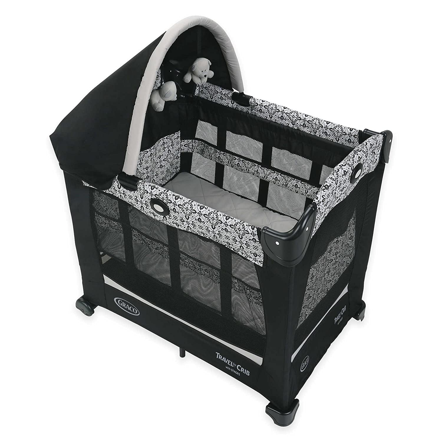 Amazon Travel Lite Crib With Stages In Sutton And 2 Level Bassinet Height Adjustment Includes Carry Bag Canopy Features Soft Hanging Toys