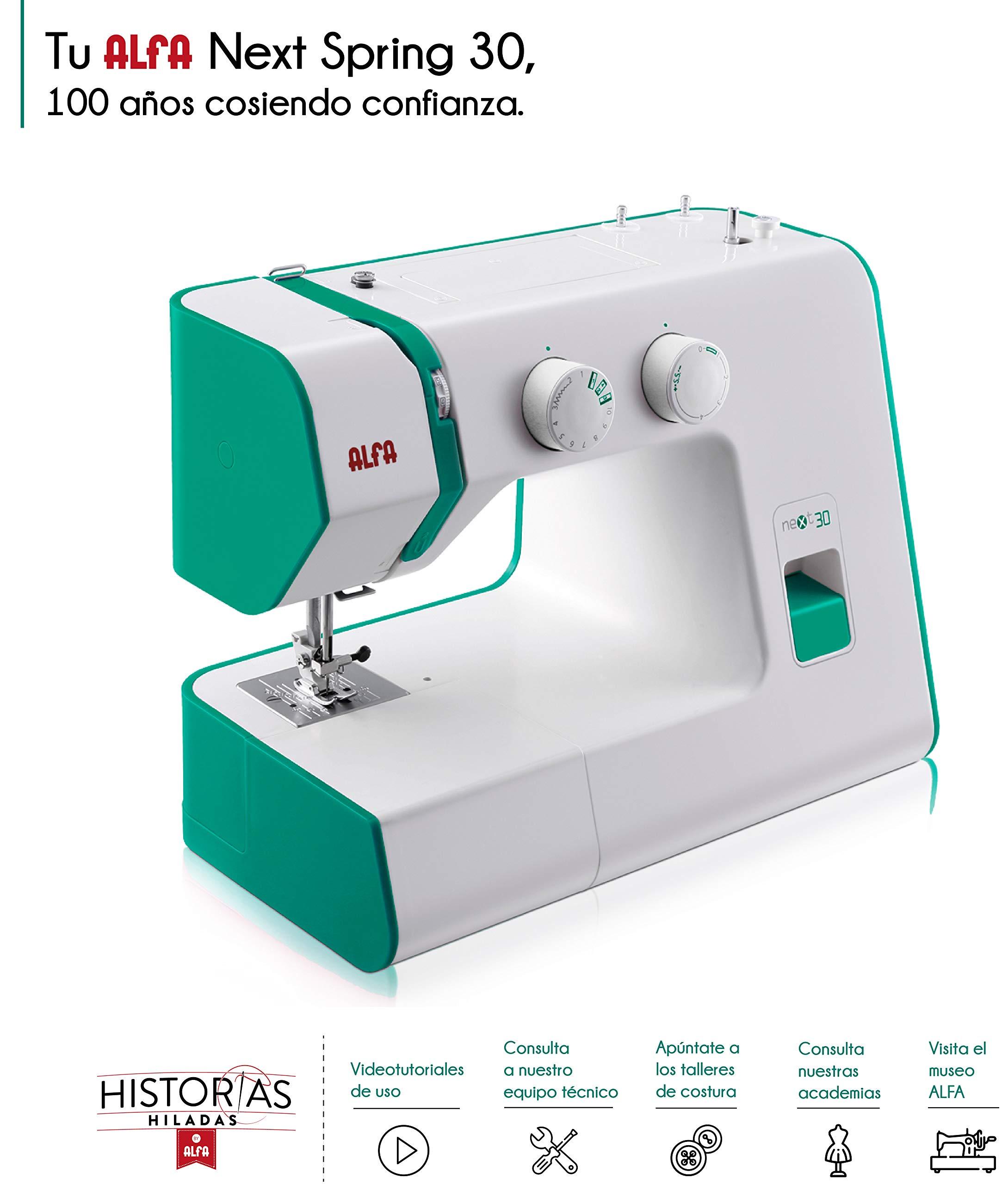 Alfa Hogar Maquina De Coser Next 30 Spring Zig-Zag.Domestica, Verde Esmeralda, 30 X 19 X 37 Cm