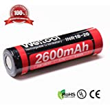Weltool 18650 2600mAh Rechargeable Lithium Ion Battery 3.7V Li-ion INR18-26 Cylindrical Flat Top Batteries
