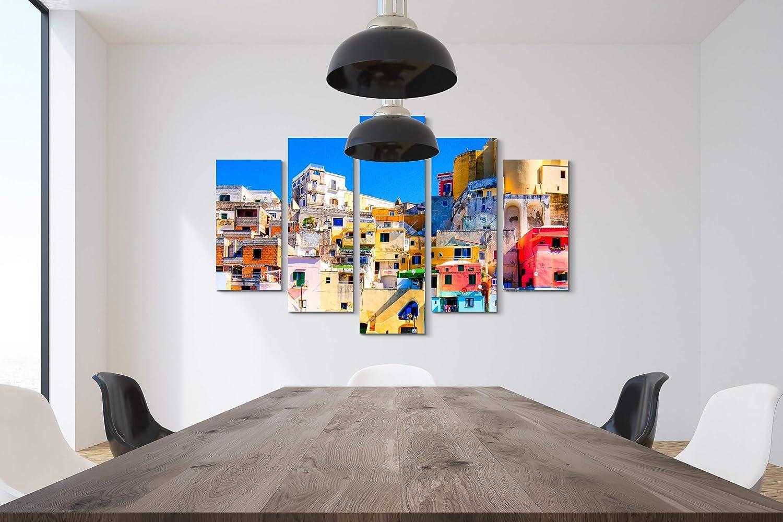 Quadro poltrone Salotto Cucina Bagno mobili Ufficio casa Stampa su Tela SIN-US 74 Quadro su Tela 130x90cm la Colorata Isola di Procida nel Golfo di Napoli Fotografia Formato XXL