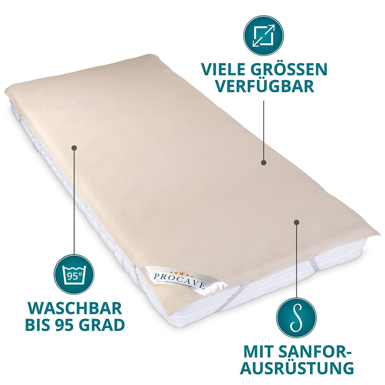 PROCAVE Funda de Molton para colch/ón 50x100cm Protecci/ón colch/ón 100/% algod/ón Protector para la Cama Made in Germany
