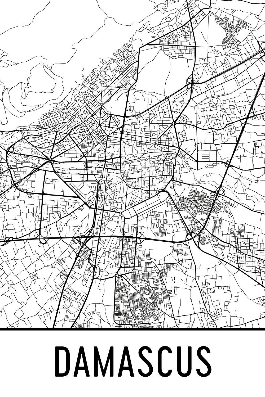 Amazon.com: Modern Map Art Damascus Print, Damascus Art, Damascus ...