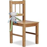 Relaxdays Petite chaise enfant en bambou chaise déco pour plantes ou fleurs HxlxP: 57 x 27 x 29 cm, nature