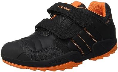 Geox New Savage Boy 9 Rugged Sneaker, Black/Orange 27 Medium EU Toddler (