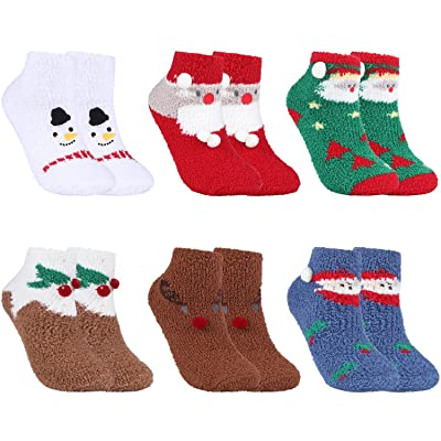 6 Pairs Christmas Fuzzy Socks Fluffy Crew Socks Cute Cozy Winter Warm Socks at Women's Clothing store