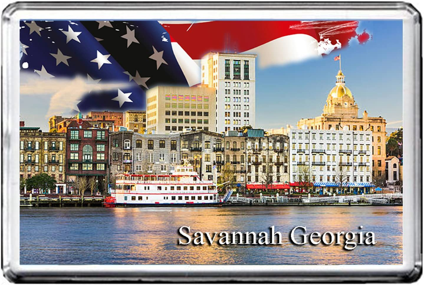 GIFTSCITY SAVANNAH, GEORGIA FRIDGE MAGNET THE CITY OF UNITED STATES REFRIGERATOR MAGNET