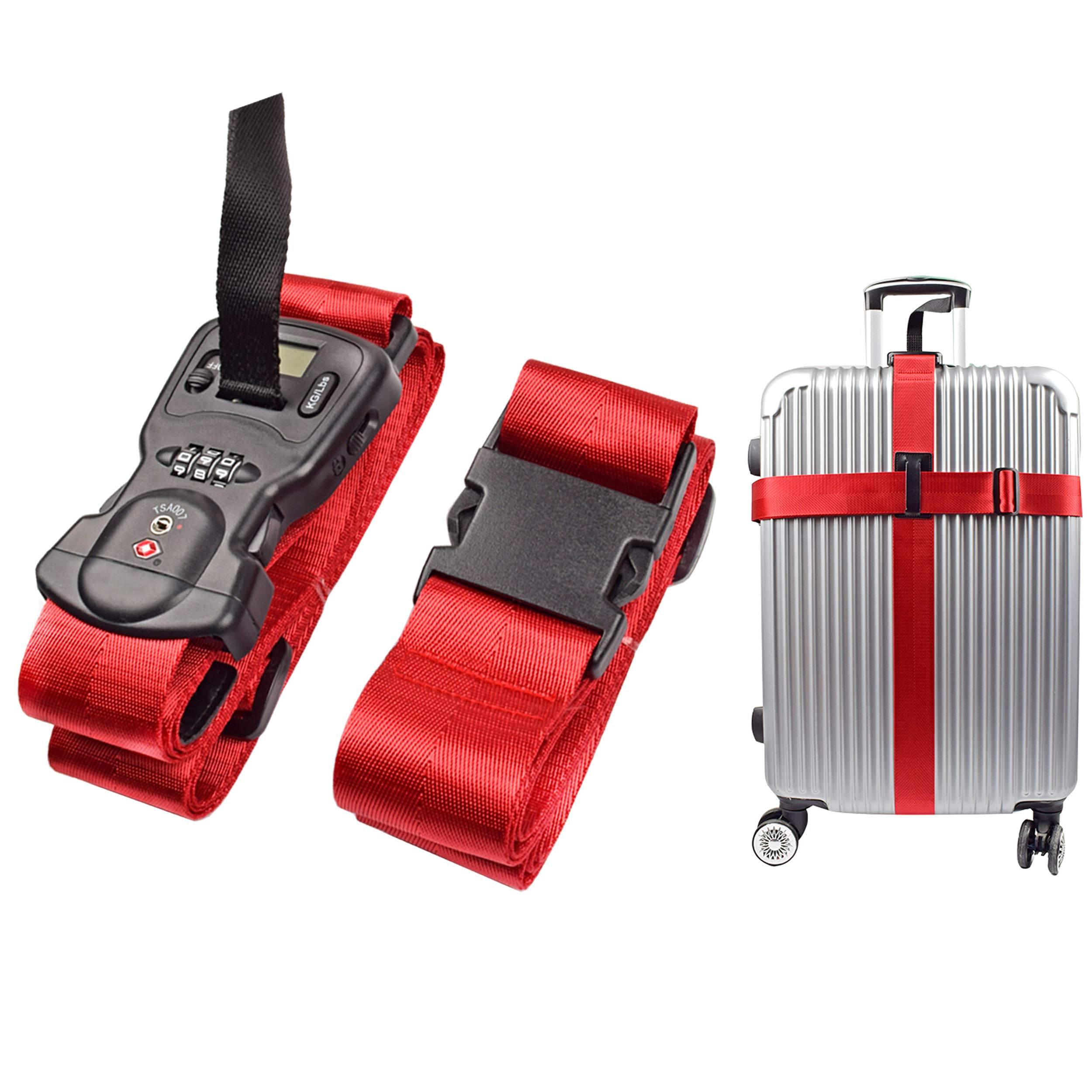 Luggage Strap Smaior Cross Combination luggage straps with Luggage Scale an TSA Lock (1Pack-Red) by Smaior