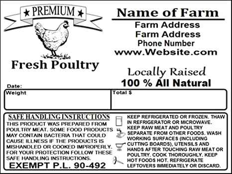 Amazon Custom Poultry Freezer Labels 4 X 3 With Safe Handling