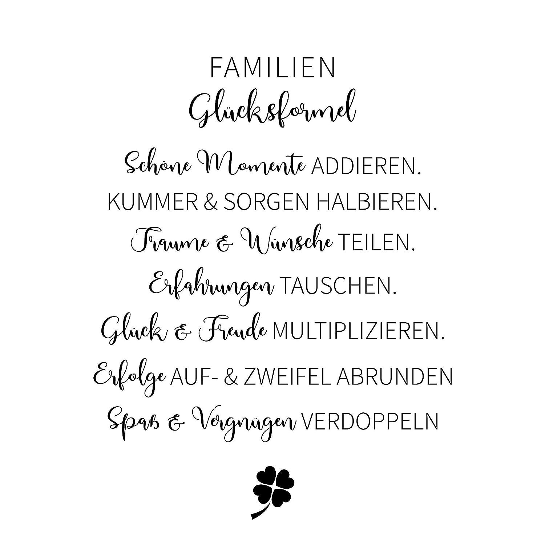 Familien Gl/ücksformel Holzbild 15x15 zum Hinstellen oder Aufh/ängen Fotodruck mit Spruch auf Holz als Geschenk zum Einzug Einweihung Familie Wand-Deko Wand-Bild