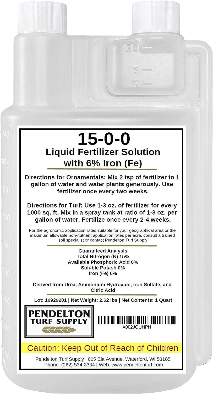 15-0-0-6 Fe - All Purpose Liquid Iron Fertilizer Solution for Darker, Greener Turf, Plants, and Shrubs (32 oz.)
