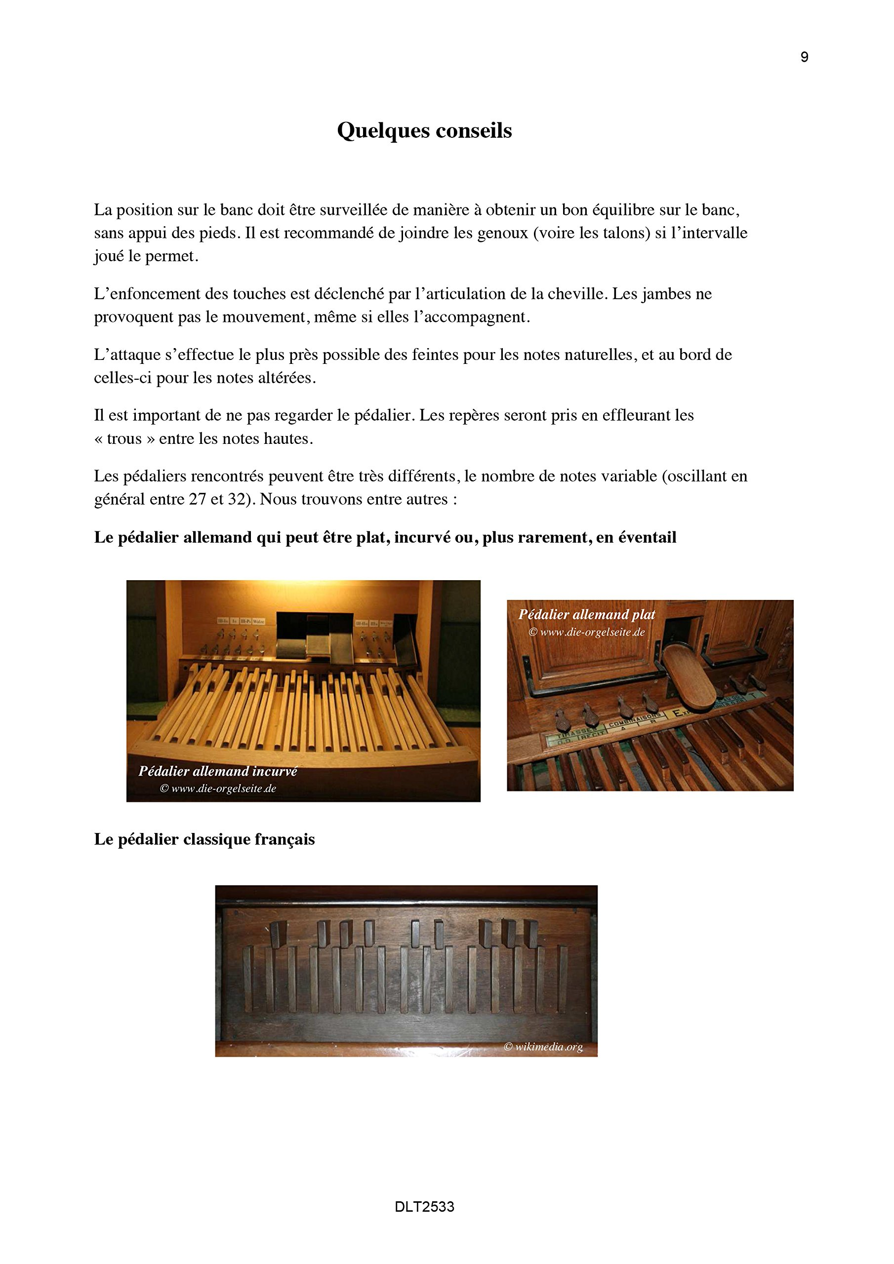 Repertoire de Pieces avec Pedalier Pour Continuer lOrgue Volume 1