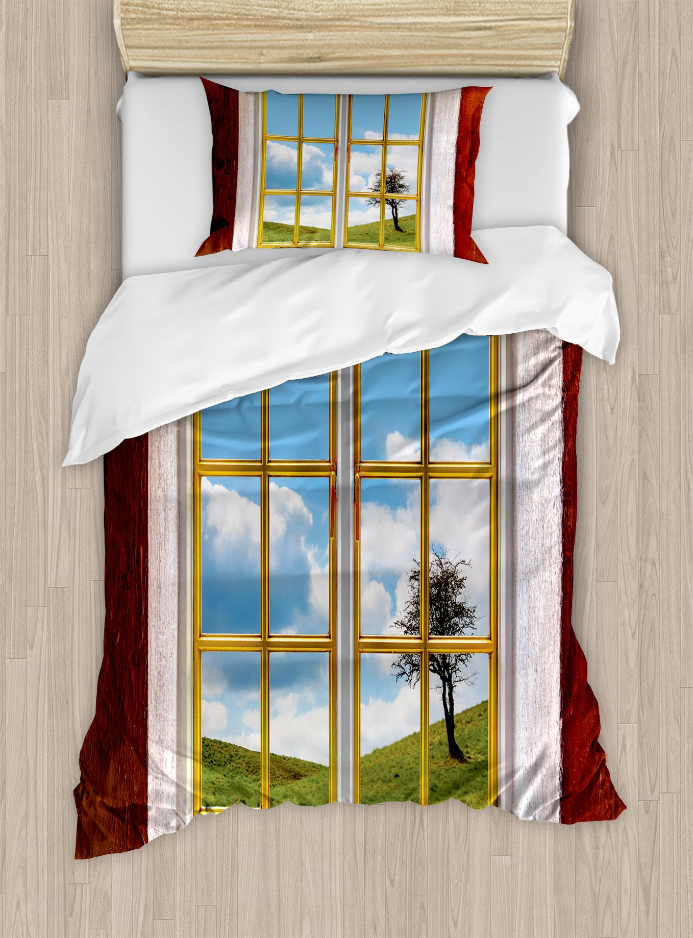 Ambesonne Rustic Duvet Cover Set Twin Size, Meadow Grass with Tree Through Window Countryside Rural Cottage Flourishing Image, Decorative 2 Piece Bedding Set with 1 Pillow Sham, Multicolor