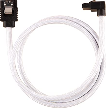 6Gbps, 30 cm 90/° Corsair Premium Sleeved SATA 3 Kabel gewinkelt gerade Wei/ß