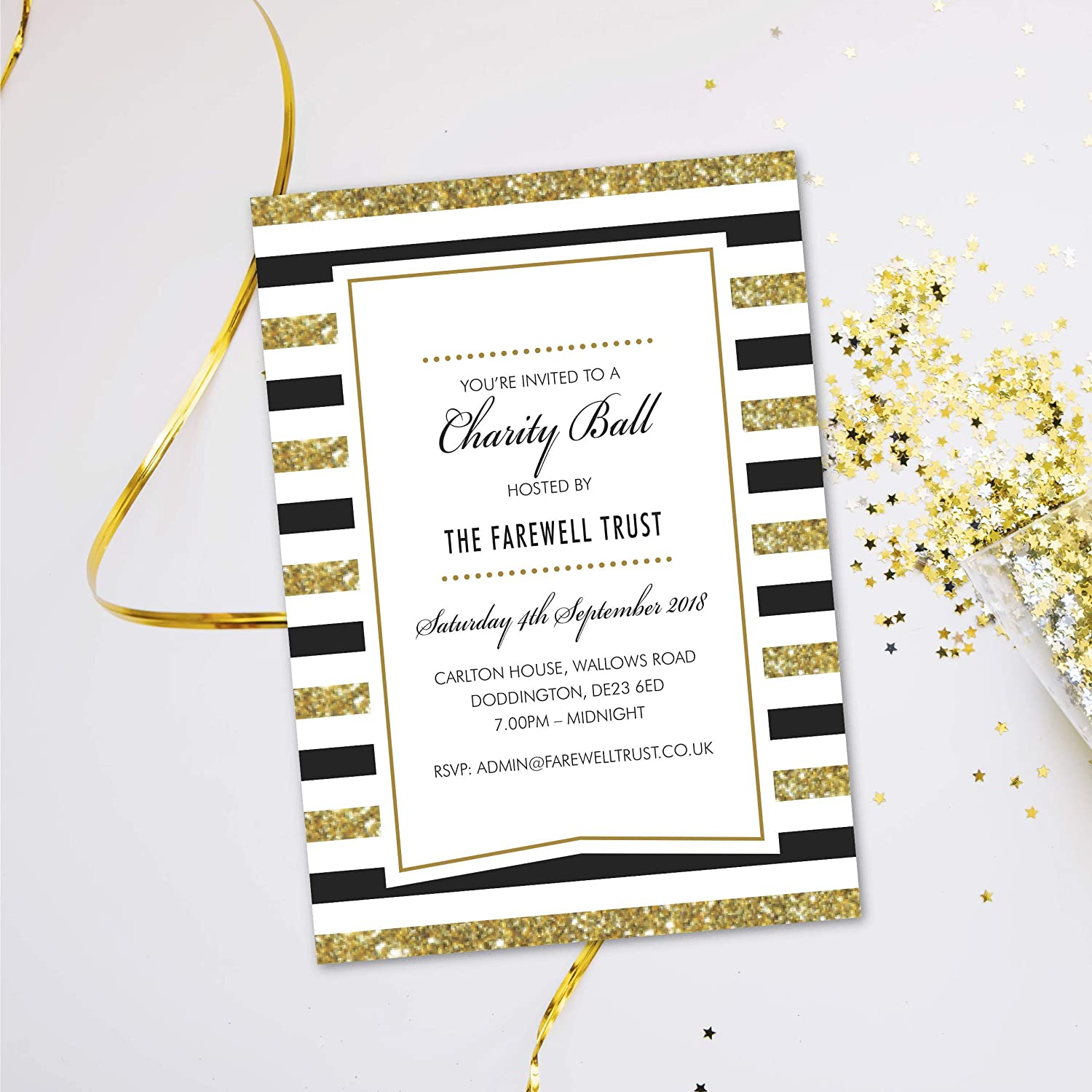 Charity Ball party dinner invitations. Evening disco glitter black tie cards invites. Personalised, 10 Pack