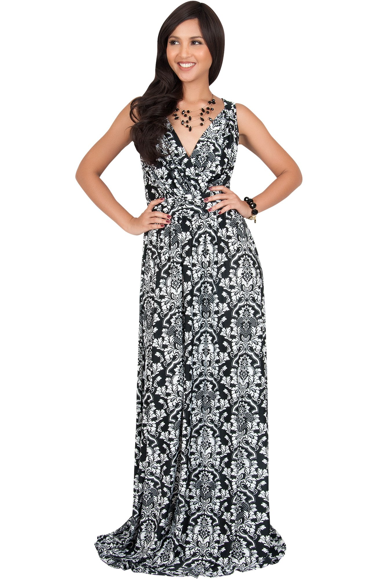 90892ca1656 KOH KOH Plus Size Womens Long Sleeveless Stretchy Flowy Cute Spring Summer  Sundress Sun Vintage Casual Floral Print Work Party Jersey Sexy Gown Gowns  Maxi ...