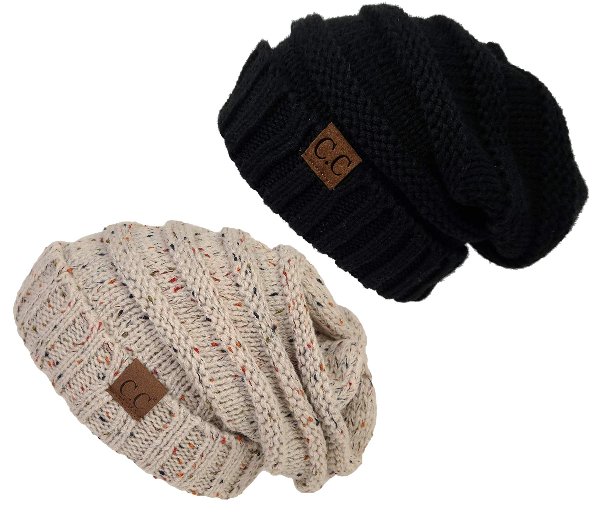 H-6100-2-062067 Oversized Beanie Bundle - Solid Black & Confetti Oatmeal (2 Pack)