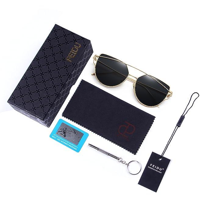 FEIDU UV400 Clubmaster Gafas de Sol Polarizadas Para Hombre y Mujer FD 3030 2nfD6kn