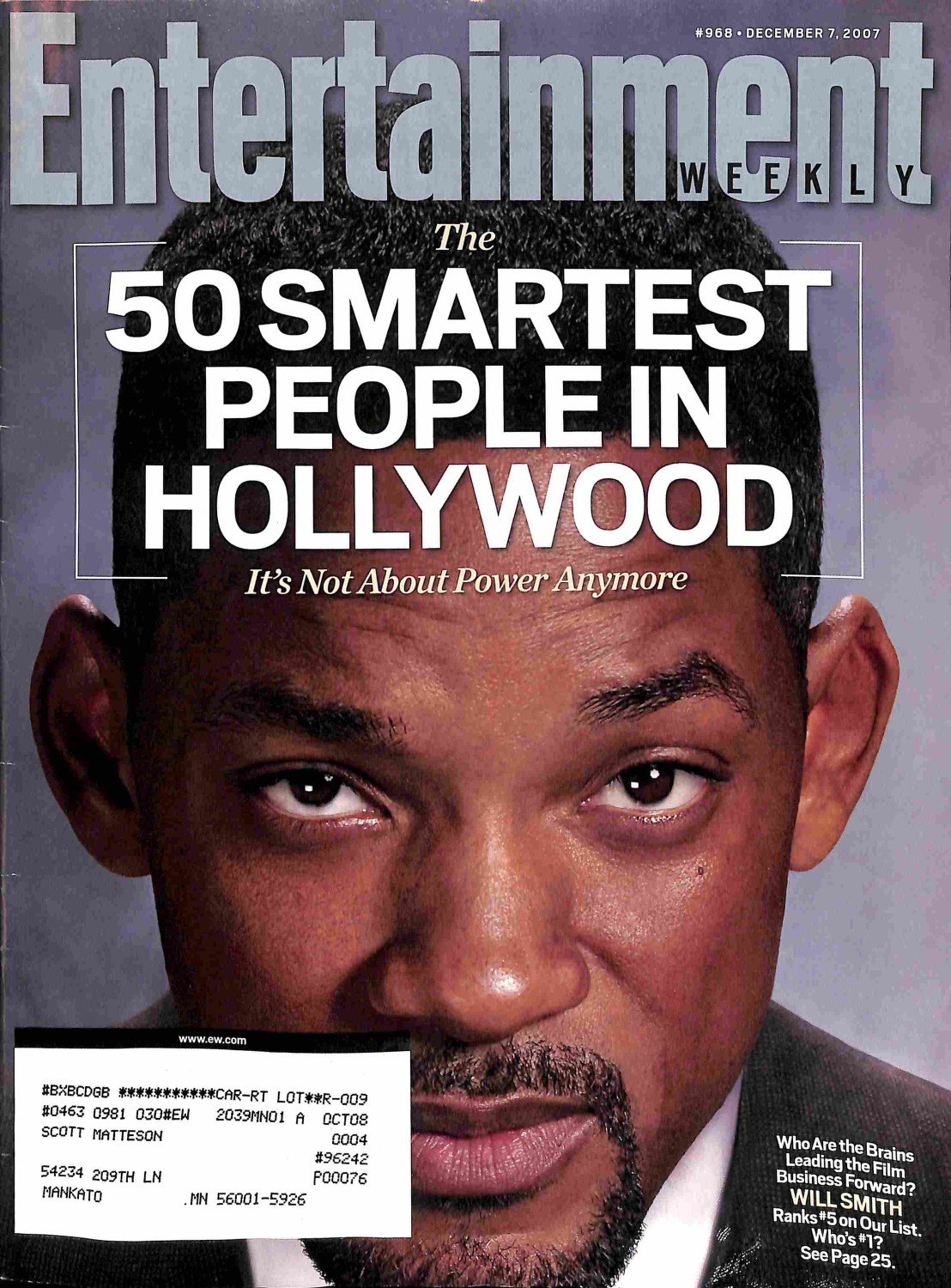 Download Entertainment Weekly December 7 2007 Will Smith, The 50 Smartest People in Hollywood (#968) pdf epub