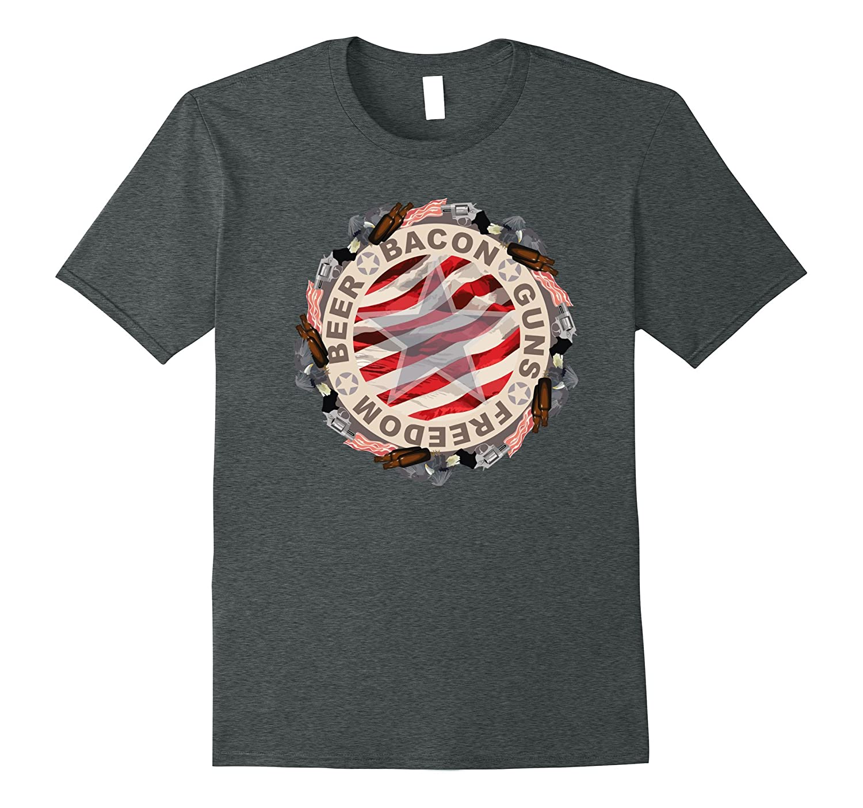 Beer Bacon Guns Freedom T-Shirt-Tovacu