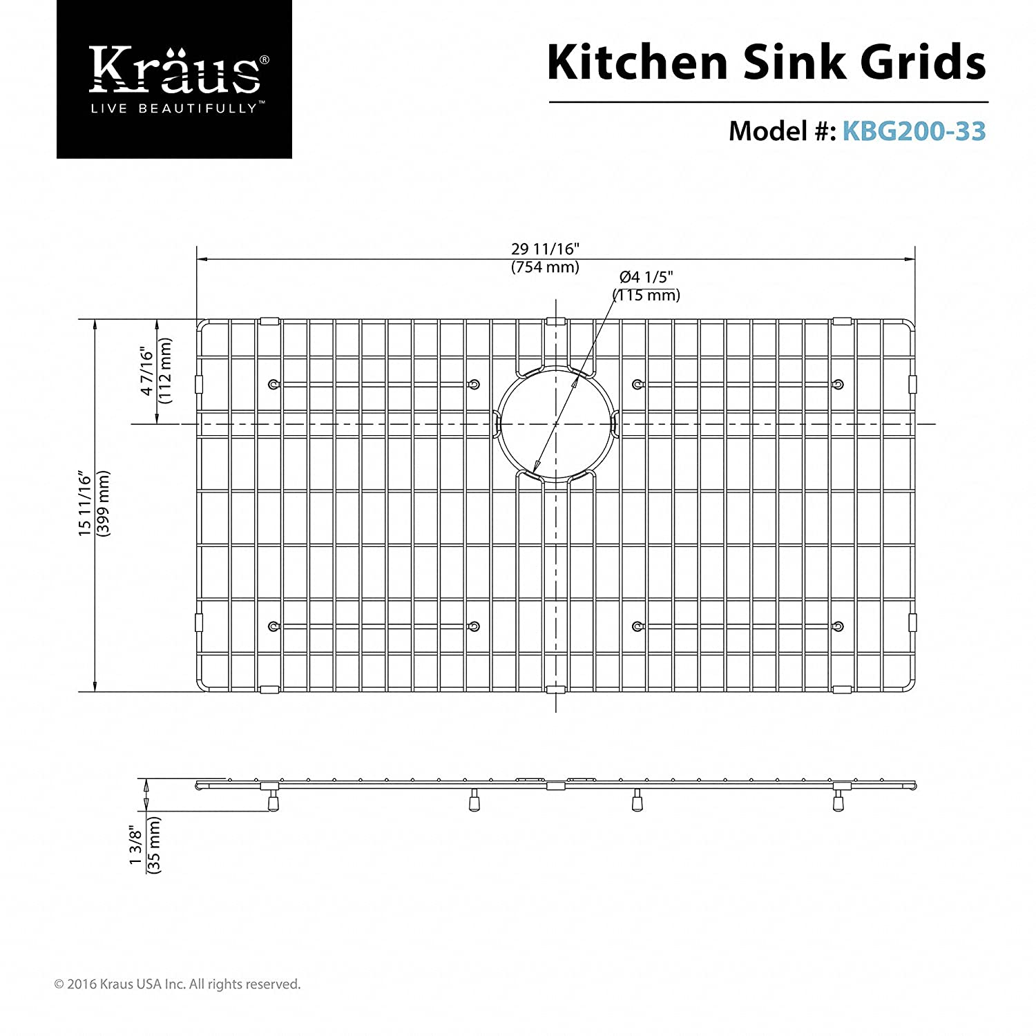 Kraus KBG-200-33 Stainless Steel Bottom Grid: Amazon.co.uk: DIY & Tools