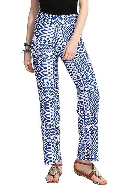 Unique-Shop Womens Floral High Waisted Wide Leg Pants Hippie ...