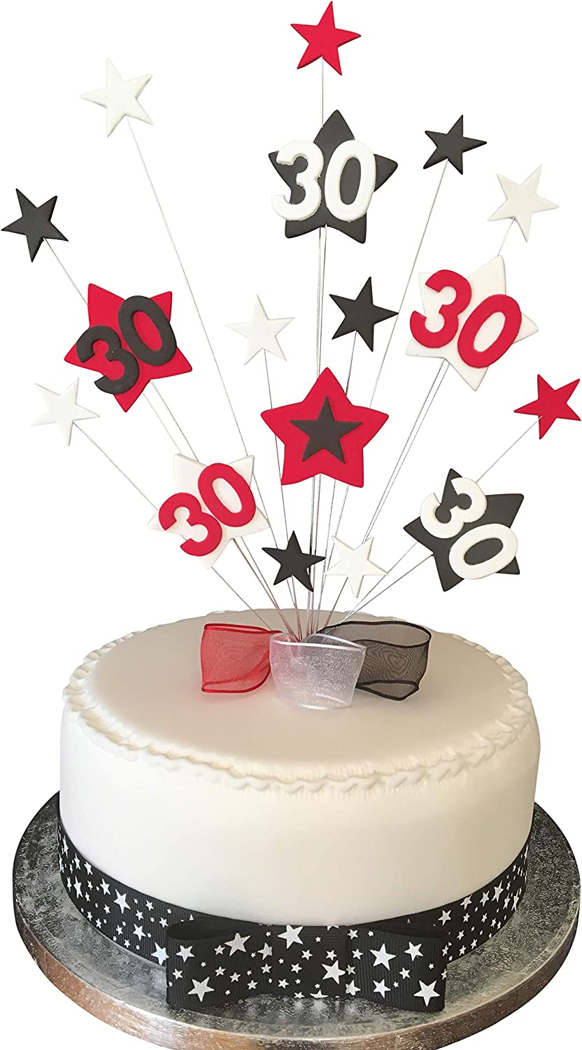 Pleasant 30Th Birthday Cake Topper Red Black And White Stars Plus 1 X Funny Birthday Cards Online Inifodamsfinfo