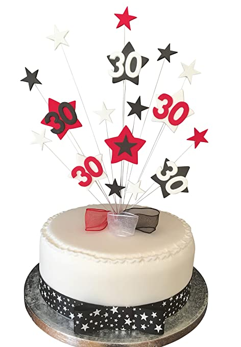 30th Birthday Cake Topper Red Black And White Stars Plus 1 X Metre