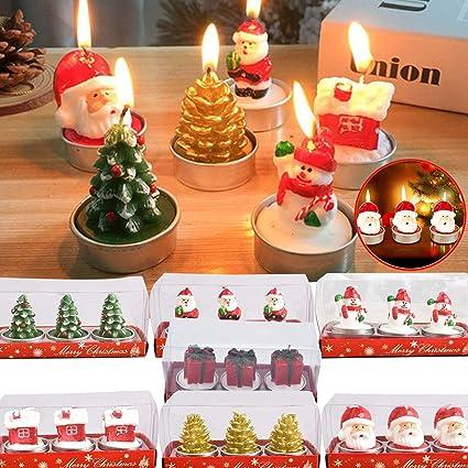 Janly Liquidación venta 1/5/7 cajas vela de Navidad, precioso árbol de Navidad, casa de Papá Noel, juego de 3 velas de decoración de fiestas para el ...