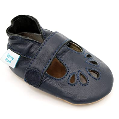Dotty Fish Soft Leather Baby Shoes Toddler Shoes Classic Navy TBar Shoes