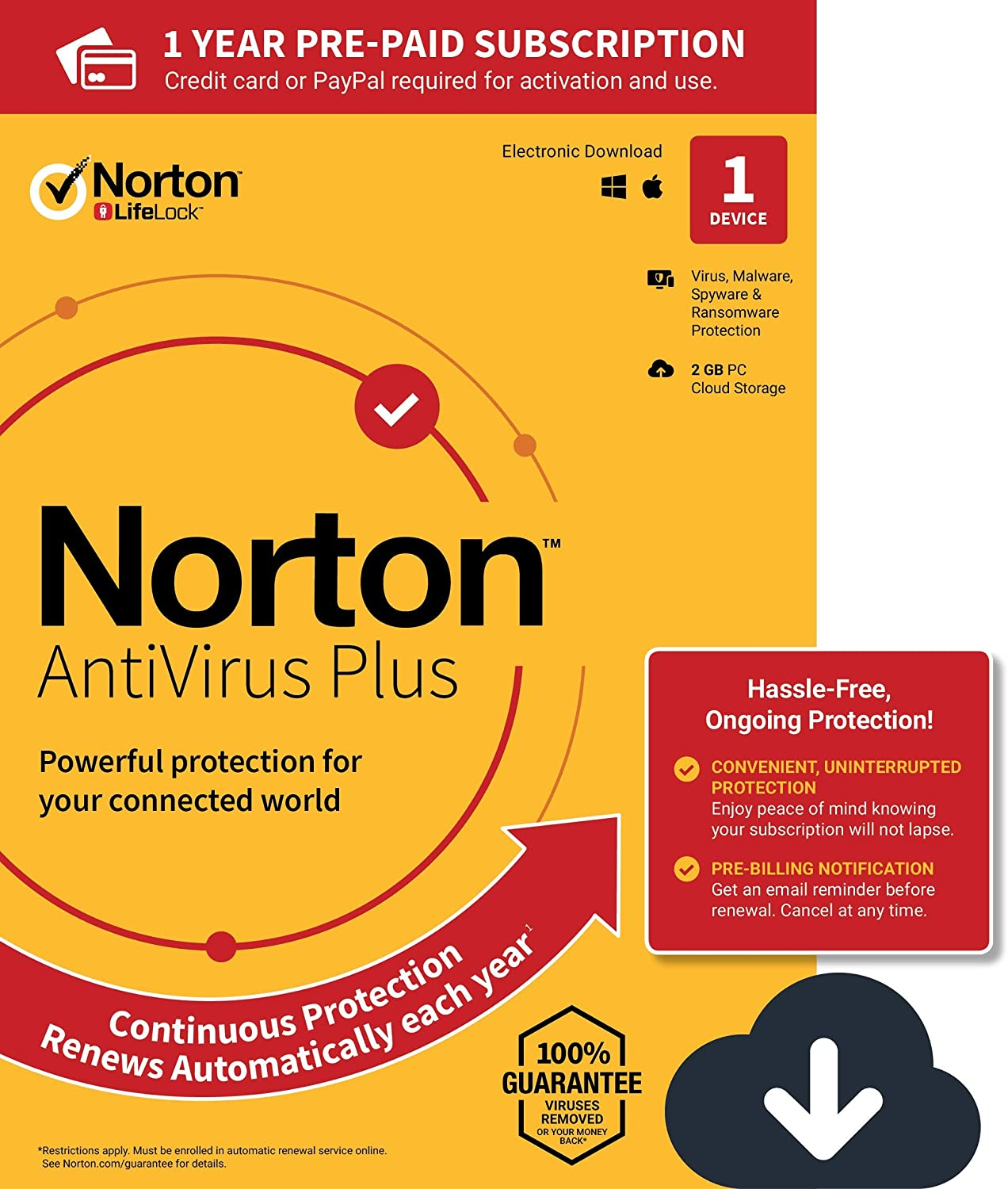 Norton AntiVirus Plus – Antivirus software for 1 Device with Auto-Renewal - Includes Password Manager, Smart Firewall and PC Cloud Backup - 2020 Ready [Download] 81PgGQEpokL