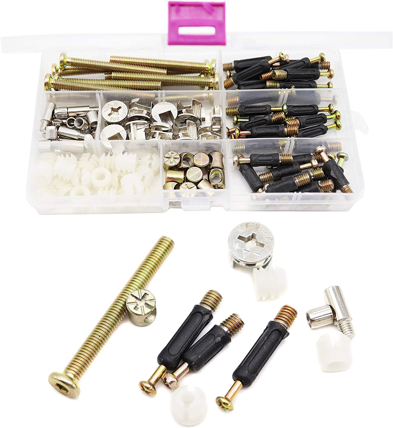 binifiMux 90pcs Crib Screws Furniture Connection Screws Nuts Assortment Kit,Hex Socket Cap Screws/Cam Fitting/Dowel/Pre-Inserte for Cabinets Cupboards Chairs Boards Headboards