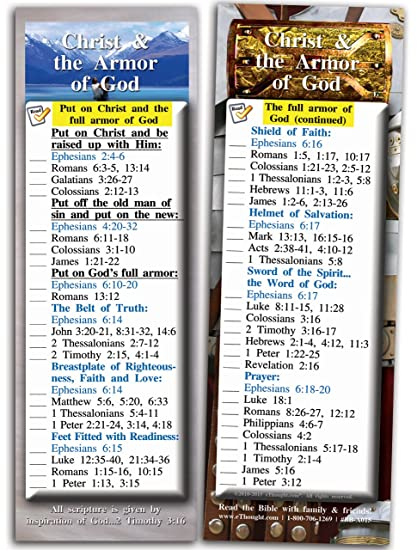 Bible Verse Cards By Ethought Christ And The Armor Of God Pack Of 25 Bookmark Size Cards The Armor Of God Protects Against Satan