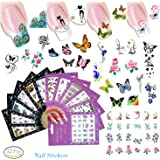 12 Sheets Nail Stickers Nail Foils Adhesive Stickers Flower Cartoon Animal Cat Butterfly Nail Decal DIY Tips Nail Art Decoration Color Nail Beauty Tool